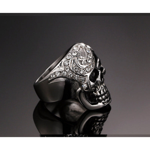 Stainless Steel Skeleton Head Ring - CrumelsWorld