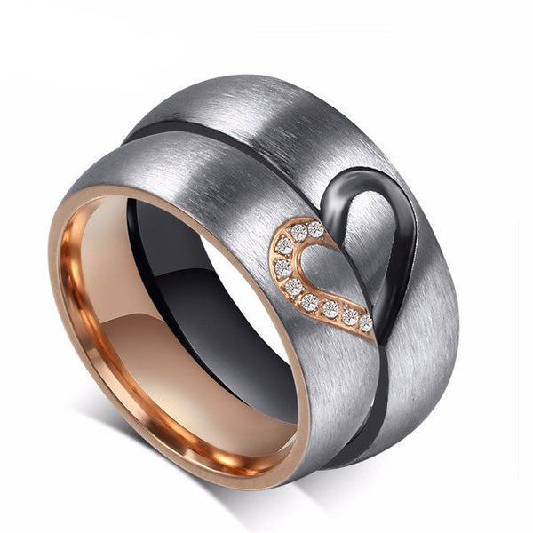 Stainless Steel Heart Puzzle Wedding Bands - CrumelsWorld