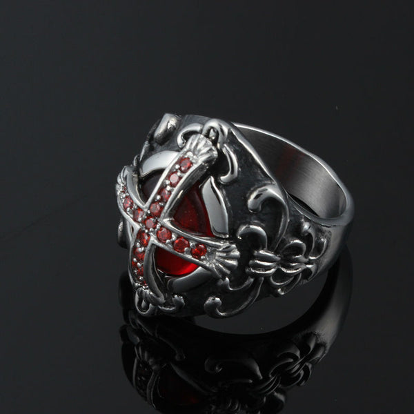 Stainless Steel Crusaders Cross Ring - CrumelsWorld