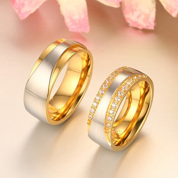 Stainless Steel Wedding Bands with CZ - CrumelsWorld