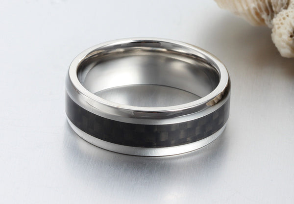 Stainless Steel Carbon Fiber Wedding Band - CrumelsWorld