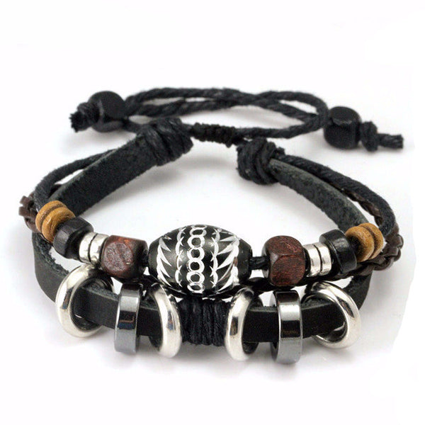 Black Leather Rope Bracelet with Wooden Beads - CrumelsWorld