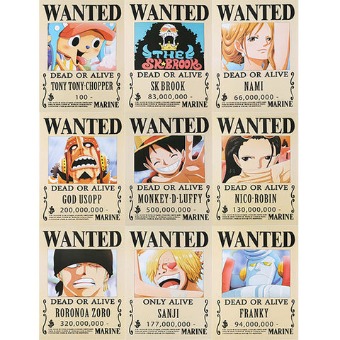 Set of One Piece Wanted Posters
