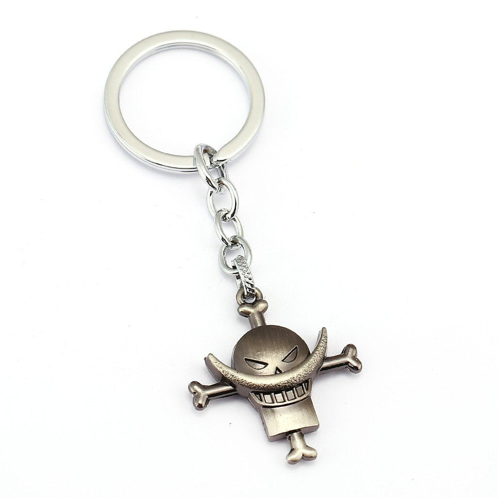 One Piece Whitebeard Pirates Gun Gray/Silver Metal Keychain