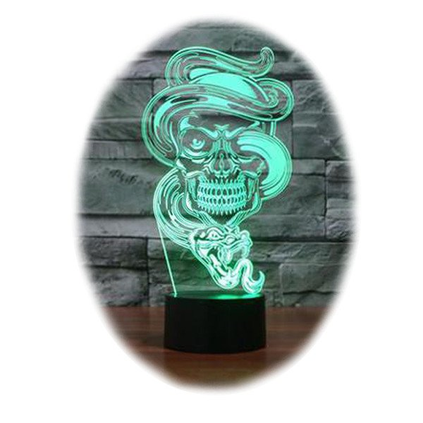 Snake and Skull 3D Table Lamp