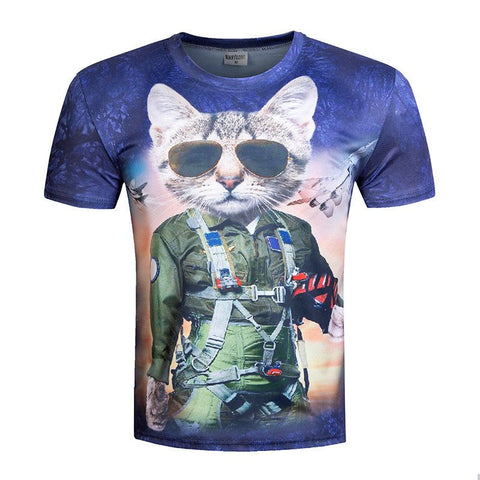 Cat Pilot Design 3D Printed T-Shirt