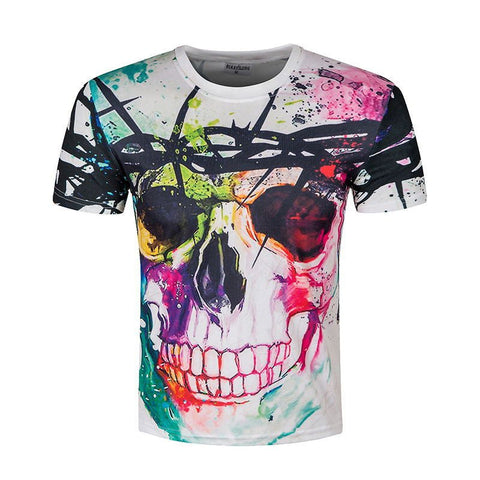 Skull Design Colorful 3D Printed T-Shirt