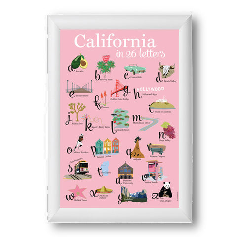 Affiche California 26 lettres fond rose cadre blanc 8X10