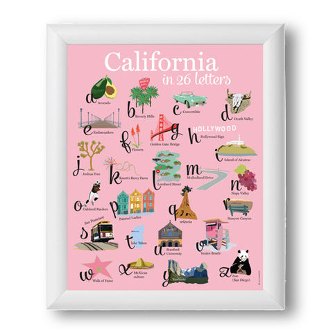 Affiche California 26 lettres fond rose cadre blanc 12X18