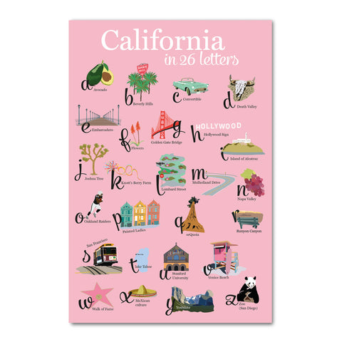 Carte postale California 26 lettres fond rose