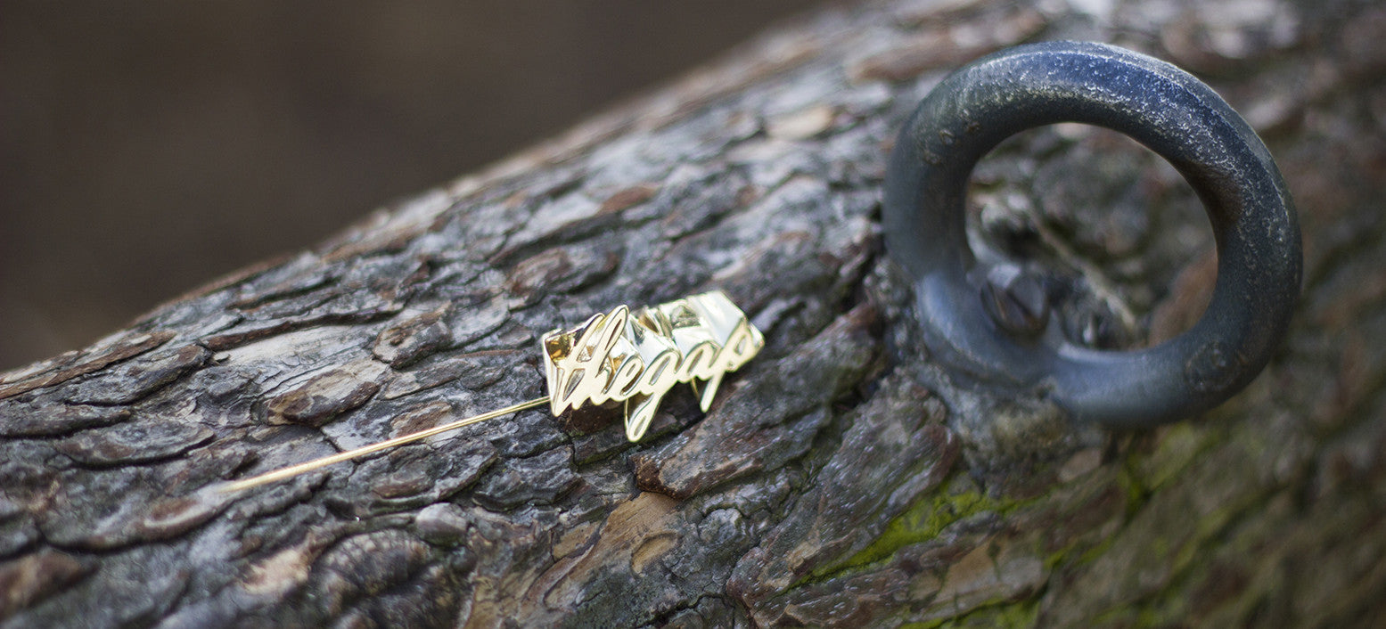 mind the gap brooch on tree