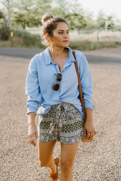 MINKPINK Wrapped Chambray Top