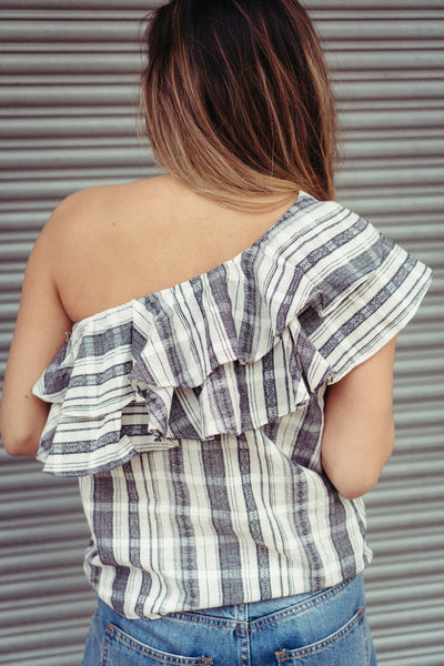 'Carolina' Plaid One Shoulder Top in Navy/White