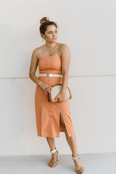 'Whitney' Strapless Linen Dress