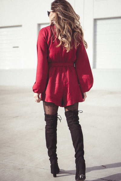 MINKPINK 'Marie' Long Sleeve Romper in Wine