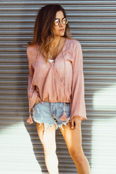 PPLA 'Aja' Woven Top in Blush
