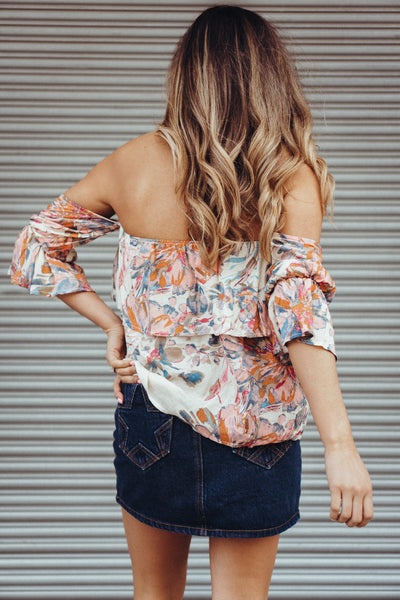 PPLA 'Kat' Floral Off The Shoulder Top