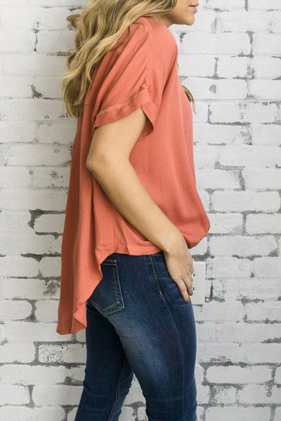 Sage 'James' Blouse in Baked Coral