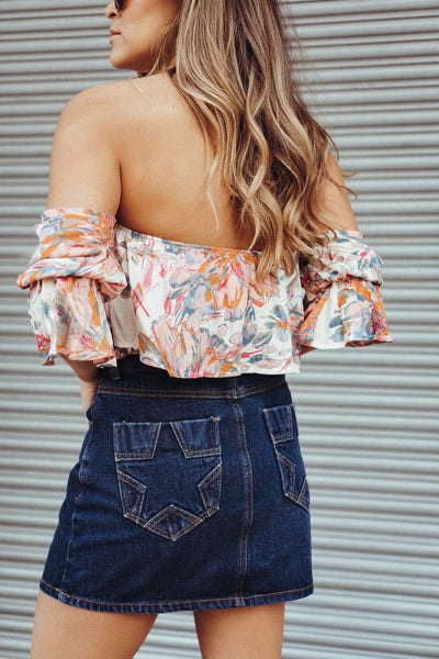 Wild Honey 'Star' Denim Skirt