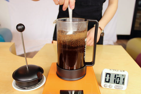 1 minute mark stir french press