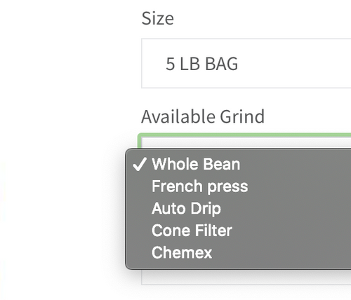 Whole Bean Ground Coffee Options