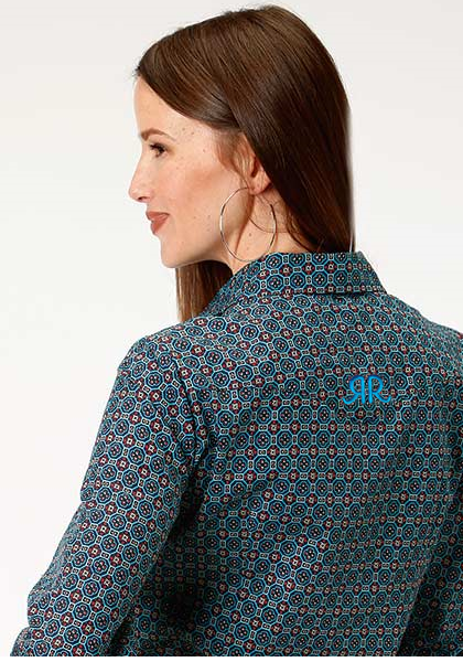 ROPER LADIES L/S SHIRT AMARILLO SNAP ALL-OVER BLUE/TURQUOISE PRINT