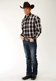 Roper Men's Black Plaid - Long Sleeve - Snap Front