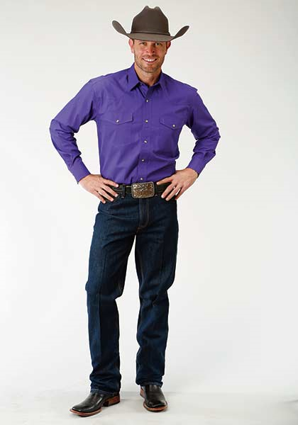 Roper Solid Purple Poplin -  Double Pocket - Snap Front - Long Sleeve - Men's Shirt