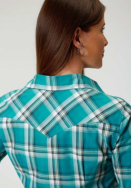 ROPER LADIES L/S JADE-PLAID w/SNAPS AMARILLO COLLECTION