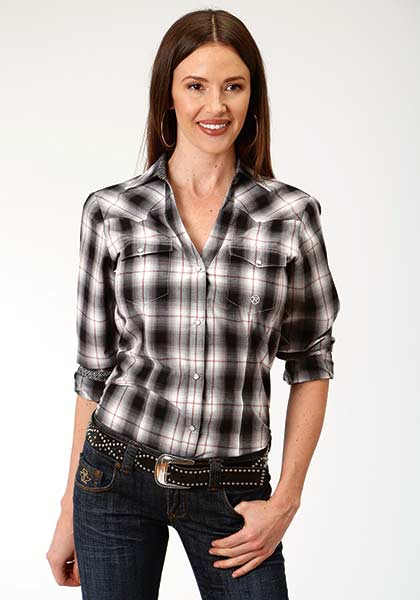 ROPER LADIES L/S BLACK/GREY/WHITE PLAID AMARILLO SNAP