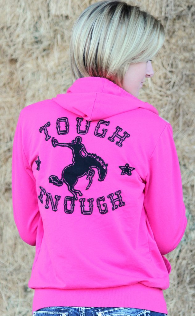 Tough Enough Pink Bronco Hoodie Zip-Up