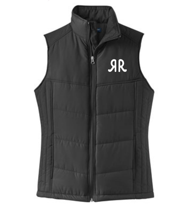 Ladies Puffy Vest Black w/RR Logo
