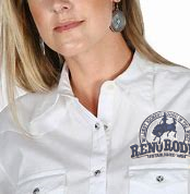 Wrangler Women's White L/S Snap Shirt w/ Reno Rodeo Logo