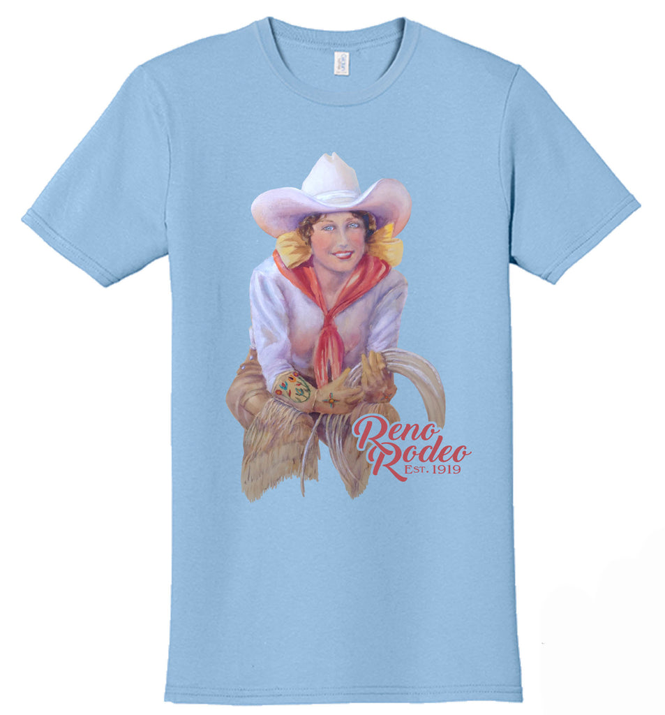 Unisex Crew-Neck Old Time Cowgirl Tee -Light Blue