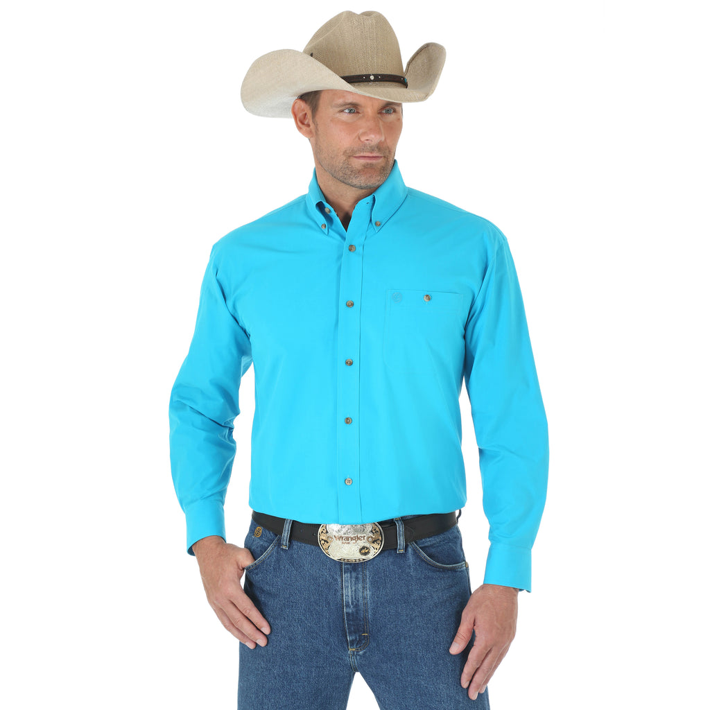 Wrangler Men's George Strait Turquoise Button Down L/S Shirt with White  Reno Rodeo Logo