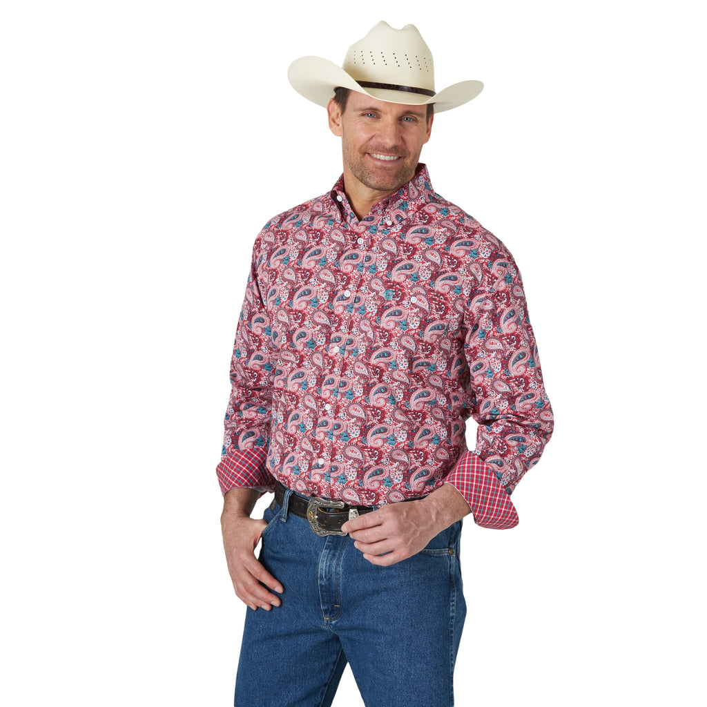 Men's Wrangler George Strait Red Long Sleeve Paisley Button Up Shirt