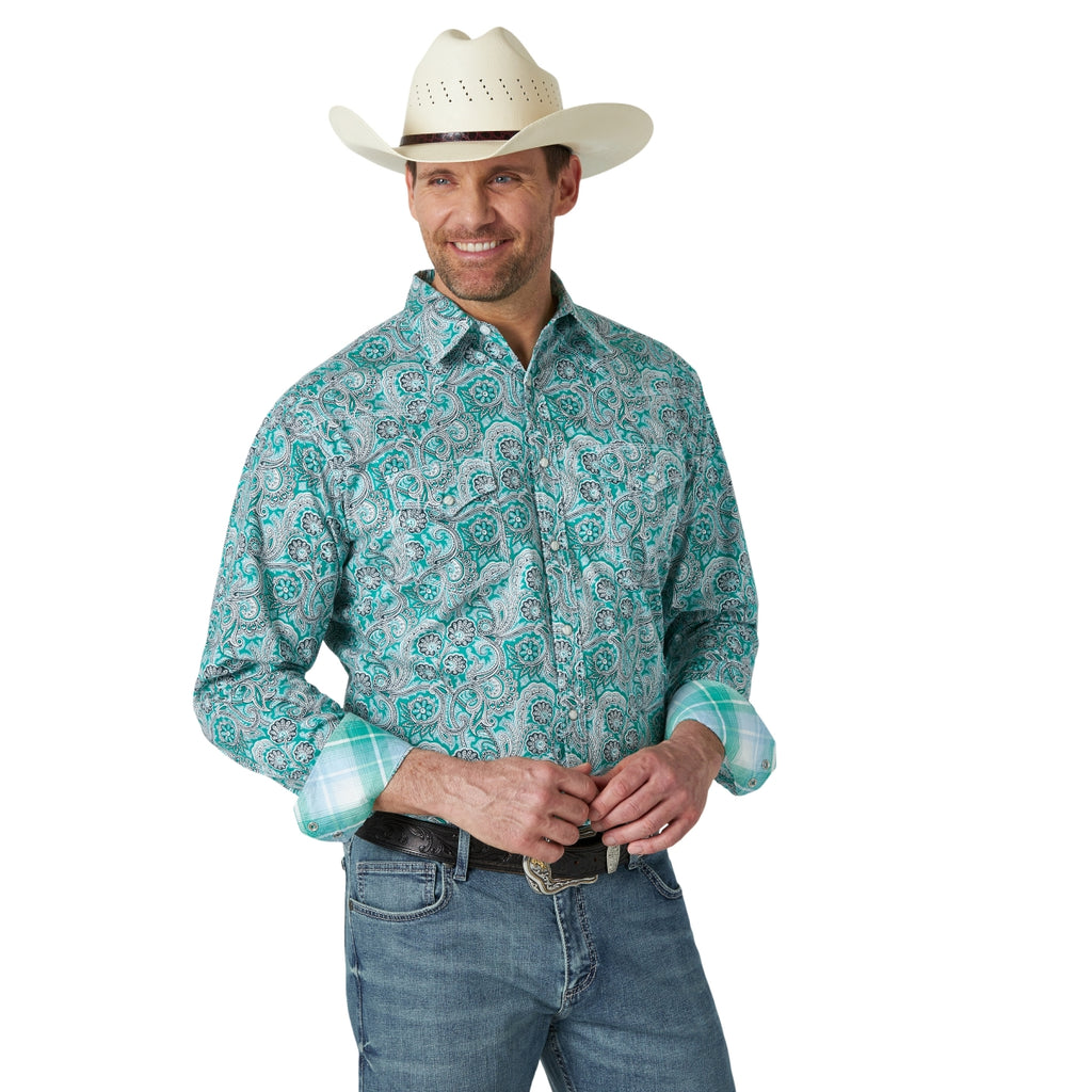 Men's Wrangler® 20X® Competition Long Sleeve - Green/White