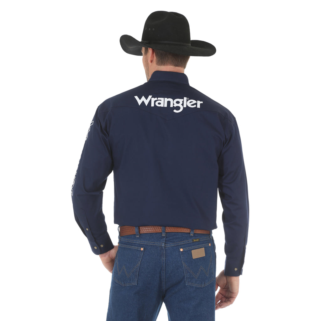 Wrangler Men's Navy Blue Button Down L/S Shirt with White Wrangler and Reno Rodeo Logo