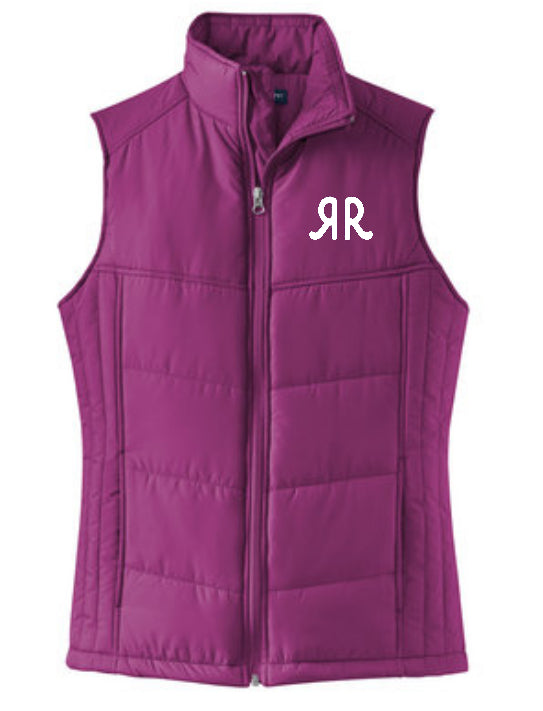 Ladies Puffy Vest Berry w/RR Logo