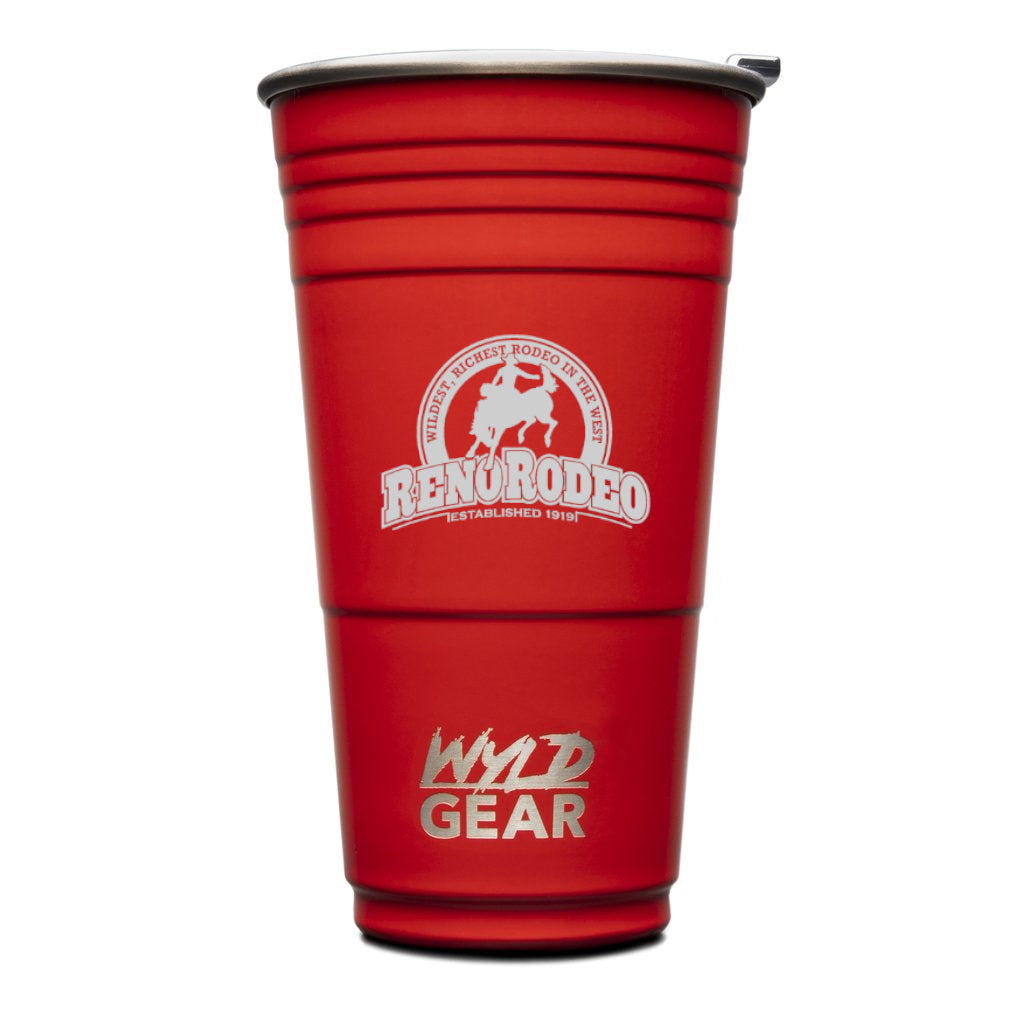 The Wyld Cup™ Red or Blue Insulated Stainless Steel Tumbler w/ Engraved Reno Rodeo Logo