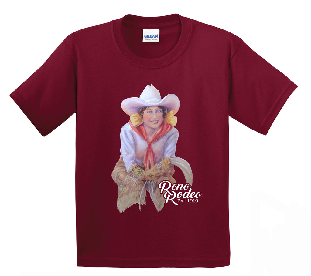 Youth Old Time Cowgirl Tee -Cardinal Red
