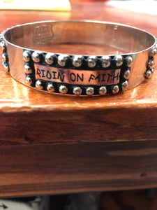 "Silver and Copper ""Riden on Faith"" Bracelet"