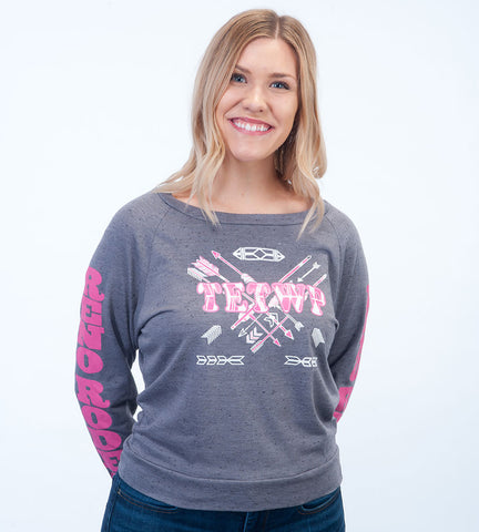 "Tough Enough to Wear Pink Grey Long Sleeve ""TETWP"" w/Arrows & Logo Sleeves"