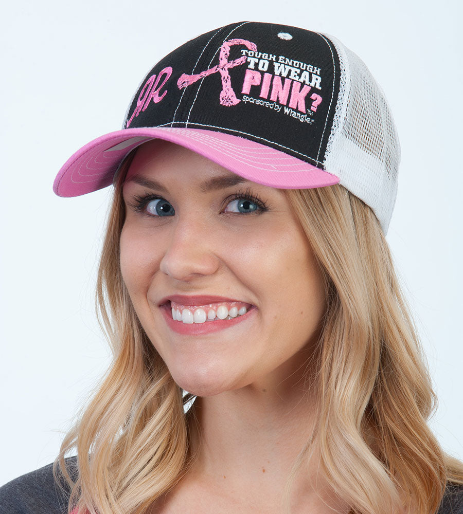 Tough Enough Black-Front Pink Bill Mesh Back Cap/ Hat