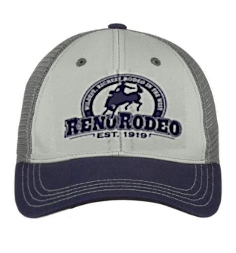 "Tri-Tone Mesh Back Cap Gray/Navy/Charcoal - Embroidered 'Est."" 1919 Reno Rodeo Logo"
