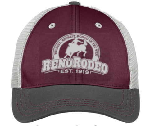 "Tri-Tone Mesh Back Cap Maroon/Charcoal/Grey - Embroidered 'Est."" 1919 Reno Rodeo Logo"