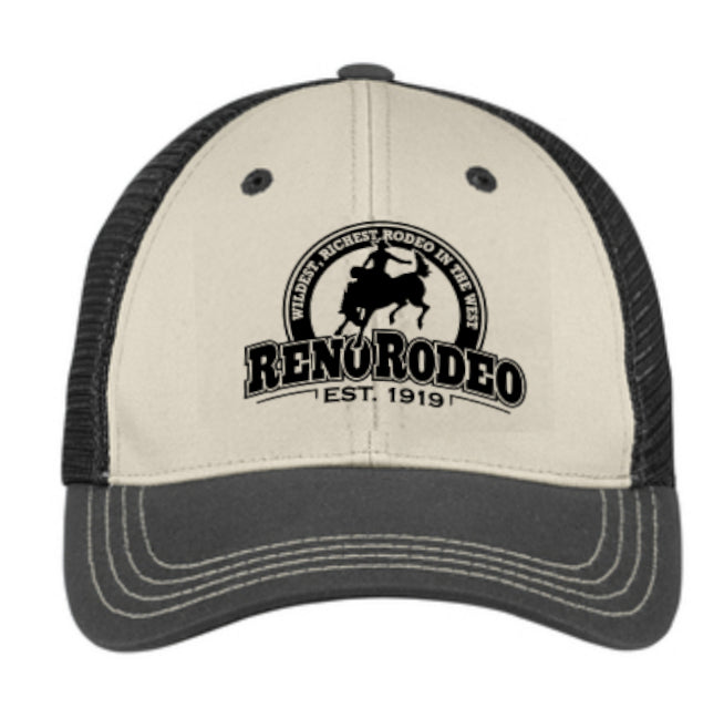 "Tri-Tone Mesh Back Cap Sandstone /Black / Charcoal - Embroidered 'Est."" 1919 Reno Rodeo Logo"
