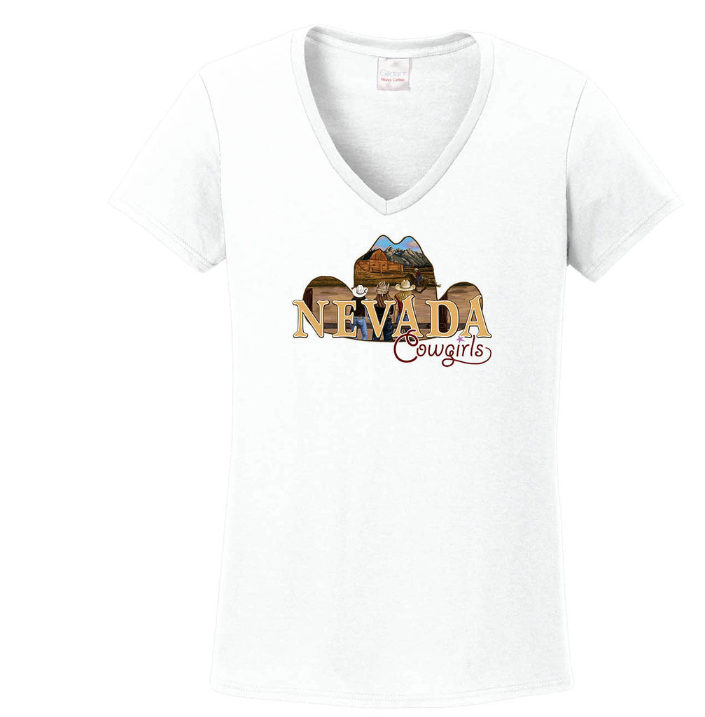 V-Neck Tee Nevada Cowgirls White-Cotton