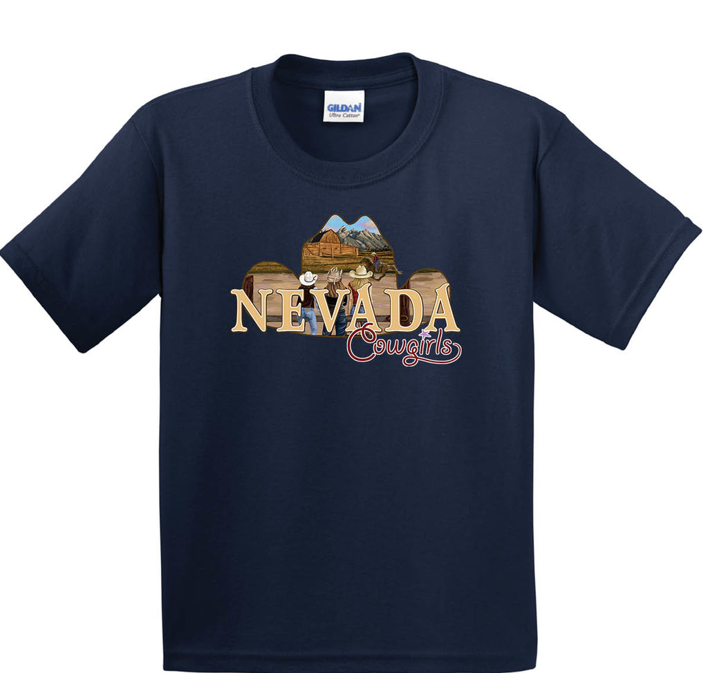 Youth Navy Nevada Cowgirls Cotton Tee