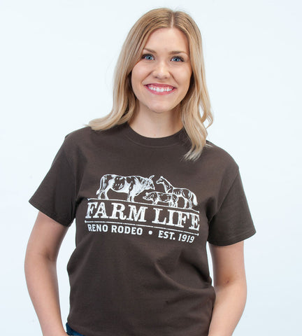 Unisex Farm Life Crew Neck Expresso Brown Tee